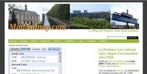 Capture de MonAulnay.com sur IE 7.0 montrant des problèmes d'affichage