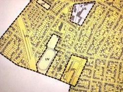 Zones du plan local d'urbanisme. Zone UD la cité Arc en ciel. Zone US l'école fontaine des prés.