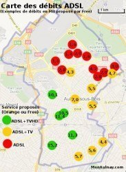 """Carte des débits """"éligibles"""" des groupes scolaires élémentaires d'Aulnay-sous-Bois. Débits en MBits/s."""