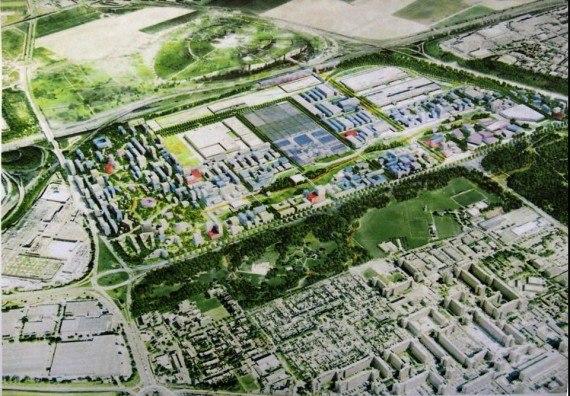 """Vision du projet d'urbanisation """"La Fabrique"""" soutenu par PSA (cabinet Constructa Urban Systems)"""