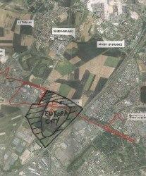 La ZAC (en rayé) et l'emprise du projet EuropaCity