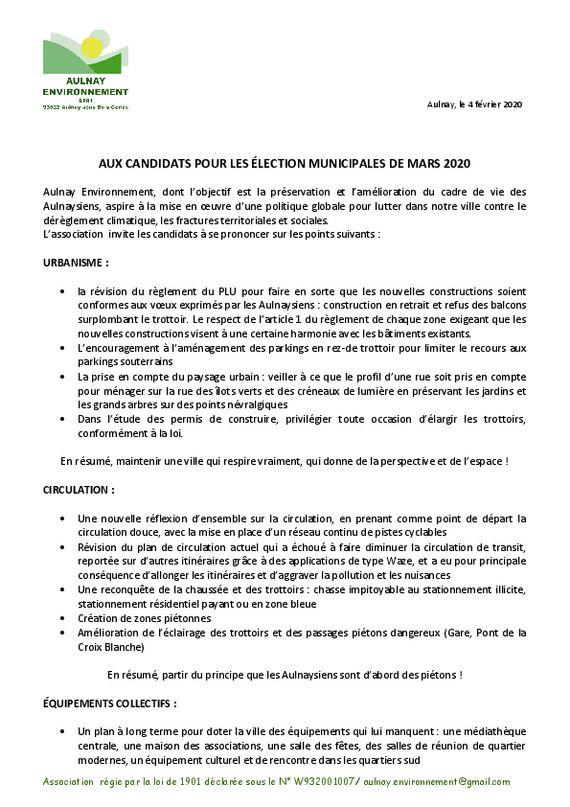 thumbnail of Lettre aux candidats