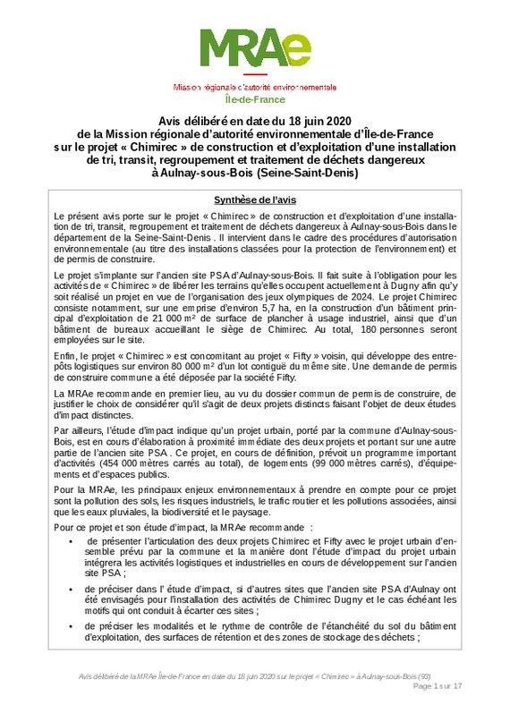 thumbnail of 2020_06_18_MRAE_avis_delibere_projet_Chimirec_Aulnay-sous-bois_93_