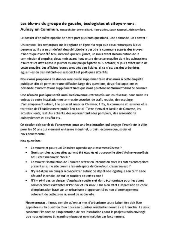 thumbnail of Chimirec question et proposition au commissaire enqueteur