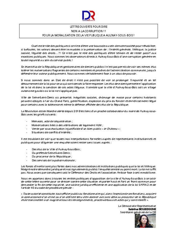 thumbnail of Lettre ouverte – Lutte contre la corruption