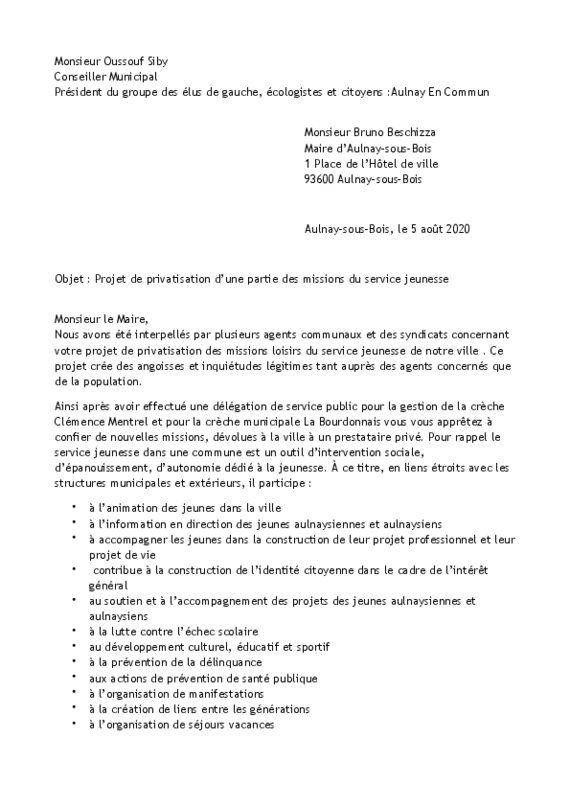 thumbnail of Courrier privatisation du service jeunesse d'Aulnay